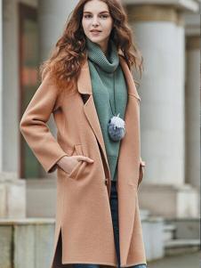 香影咖啡色韩版修身毛呢大衣
