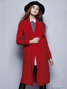 楚阁女红色修身长款大衣