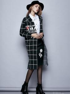 楚阁女装韩版修身格纹大衣