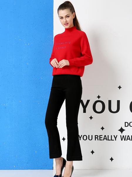 戴莉格琳新款红色高龄毛衣