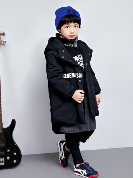 玛玛米雅黑色中长款棉衣