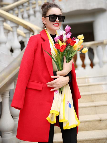 优尚美女装红色毛呢外套