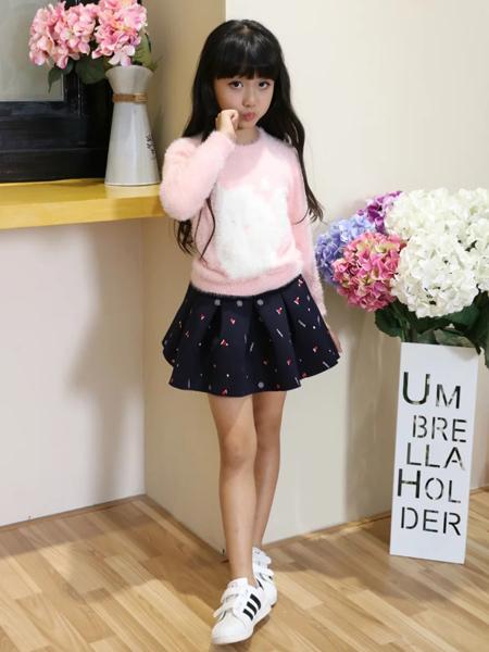 班吉鹿女童粉色新款毛衫