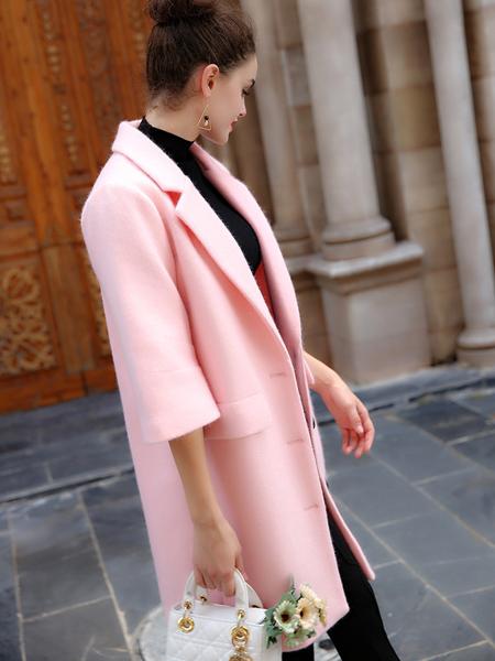 优尚美粉色五分袖毛呢大衣