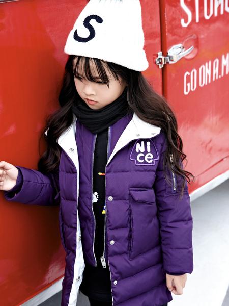 玛玛米雅女童紫色羽绒服