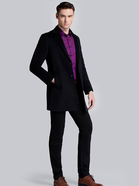 贝克狮丹修身中长款外套