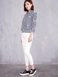 艾米塔女装2016秋冬新品条纹衬衫