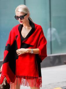 艾米时尚红色披肩正品