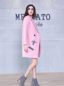 艾诺绮粉色优质大衣新款