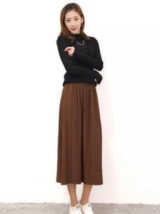YES女装棕色百褶半裙