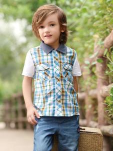 皇后婴儿男小童春夏新款格子衬衫
