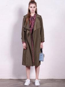 GCCG女装2016秋冬新品军绿色长款外套
