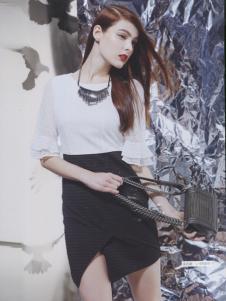阿莱贝琳黑色开叉包裙