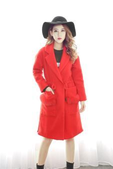 MISS ONE女装2016新品红色收腰呢大衣