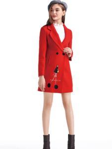 淑女日记红色气质淑女外套