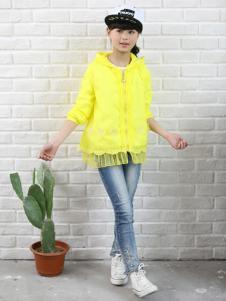 1+2=3童装2016新品女童黄色防风外套