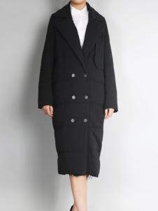 零时尚欧版黑色大衣
