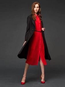 初次印象女装2016新品黑色长款风衣