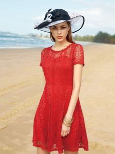 宠爱女人2016新品红色蕾丝裙