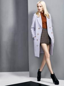 依然秀冬季新款浅紫色大衣