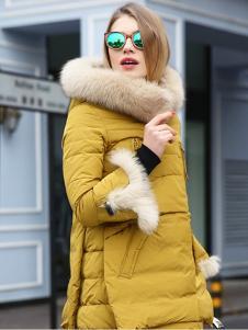 必芙丽黄色毛领羽绒服