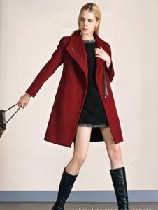 必芙丽红色翻领呢外套
