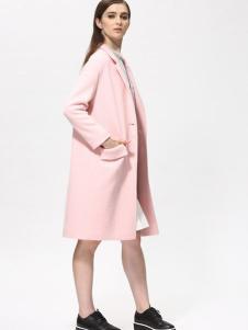 Sofeya女装秋冬新品粉色中长款大衣