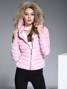 彤欣格粉色短款毛领羽绒服