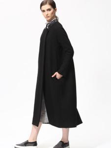 Sofeya女装秋冬新品黑色长款大衣