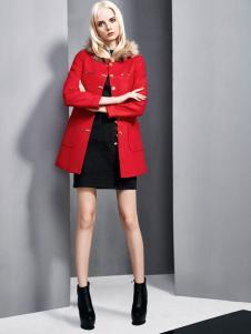 依然秀冬季新款红色外套