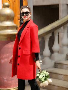 优尚美红色韩版七分袖大衣
