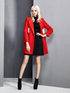 依然秀冬季新款大红色大衣