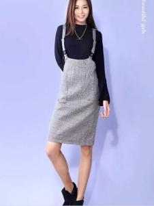 YES女装灰色背带裙