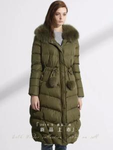迪斯廷凯冬季军绿色羽绒服