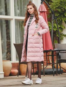 香影女装粉色长款羽绒服