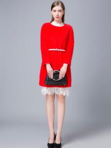 音非冬季新款红色修身打底裙