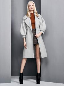 依然秀冬季新款个性灰色大衣