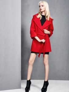 依然秀冬季新款红色时尚大衣