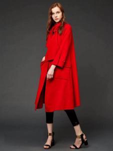 初次印象女装2016新品红色大衣