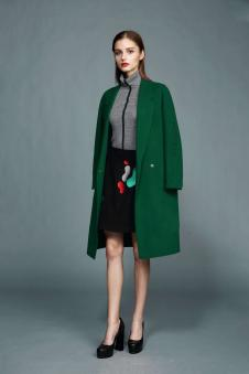 卡蔓女装16秋冬新品绿色呢大衣 款号268669