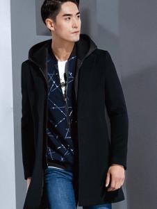 2016才子男装黑色保暖大衣
