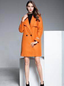 彤欣格亮橙色呢大衣