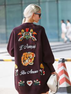 艾米时尚印花优质大衣新款