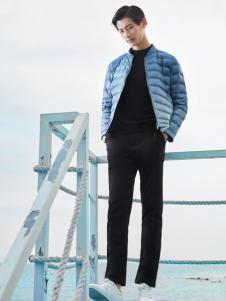 空间男装蓝色冬款轻便羽绒服