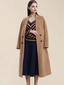 Carmen卡蔓女装卡其色双排扣大衣