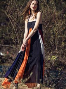 卡索2017春夏新款吊带撞色连衣裙