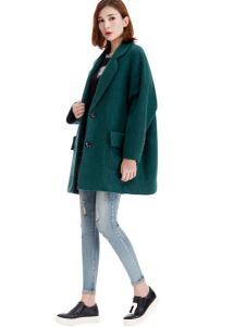 艾米塔女装2016秋冬新品绿色廓形大衣