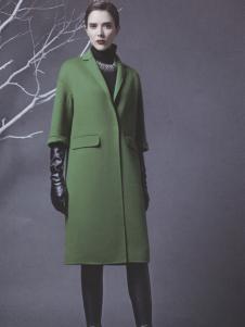 阿莱贝琳绿色韩版修身呢大衣