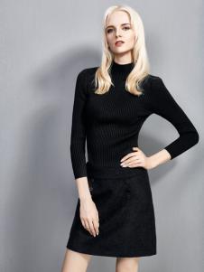 依然秀冬季新款黑色打底裙