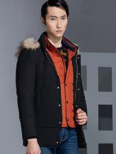 2016才子男装黑色保暖羽绒服